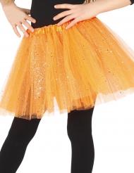 Orange tyllkjol med glitter för barn - Halloweentillbehör