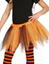 Tyllkjol i oranget och svart med glitter för barn