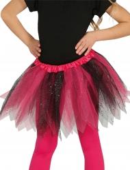 Tvefärgad tyllkjol i svart och rosa för barn
