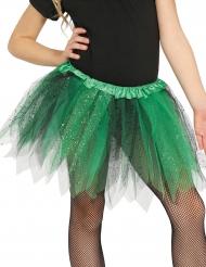 Tvefärgad tyllkjol i svart och grönt för barn