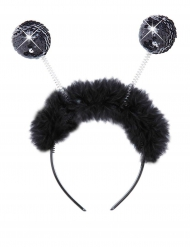 Svarta glitterbollar - Diadem med paljetter och fuskpäls