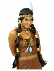 Vacker indianperuk med pippilotter för vuxna