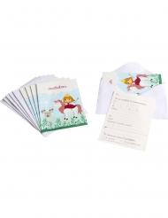 6 Prinsessinbjudningskort med kuvert 10 x 15 cm