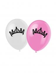 6 rosa ballonger med prinsesstryck