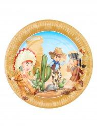 6 Cowboy & Indianer-tallrikar 23 cm