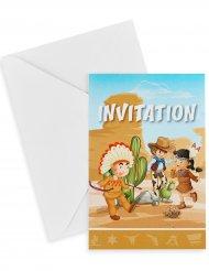 6 Kuvert och inbjudningskort med cowboy & indian-mönster 10x15 cm