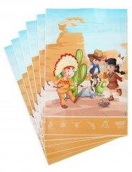 6 presentpåsar med cowboys och indianer 15x23