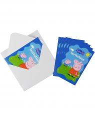 6 Greta Gris™ inbjudningskort med kuvert 10x15 cm