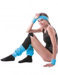 Pannband och vristbland i blått för vuxna till 80-talsmaskeraden