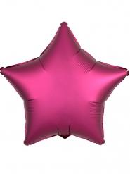 Fuchsiafärgad stjärnballong med satineffekt 45cm