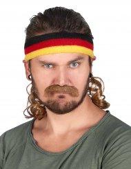 Pannband i svart rött och gult med hockeyfrilla och mustasch