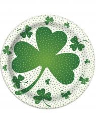 8 tallrikar med treklöver till St. Patrick