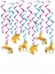 12 Gyllene enhörningar - Hängande dekorationer