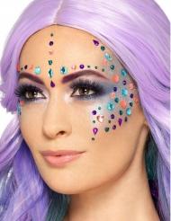 100 st flerfärgad strass för ansiktet