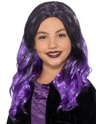 Svart och lila hår - Halloweenperuk för barn