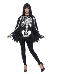 Poncho skelett med handskar - Halloween maskeradkläder