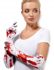 Långa vita handskar med blod på - Halloween tillbehör