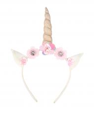 Tjusig enhörning - Diadem med blommor för barn till kalaset