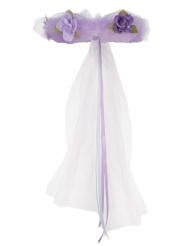 Blomkrona med tyll och lila blommor - Maskeradtillbehör för barn