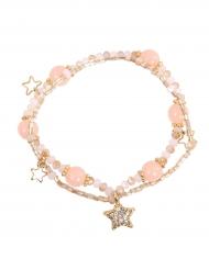 Armband med rosa pärlor och stjärnor - Maskeradtillbehör för barn