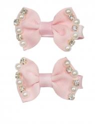 2 rosa hårspännen med pärlor och diamanter