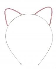 Diadem med kattöron i strass - Maskeradtillbehör för barn