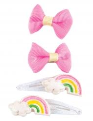 4 tjusiga hårspännen med rosetter och regnbågar