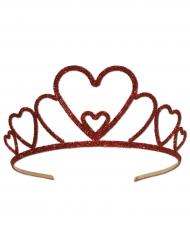 Metalliskt diadem med hjärtan och rött glitter