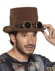Brun steampunkhatt med glasögon vuxen