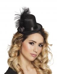 Glamorös mini-hatt med fjäder vuxen