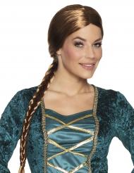 Medeltida brun peruk med lång fläta