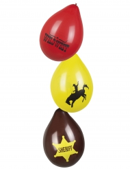 6 Vilda Västern-ballonger 25 cm