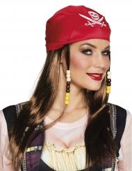 Piratperuk med röd bandana dam