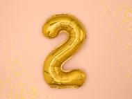 Guldfärgad aluminium ballong i siffran 2 - Julpynt