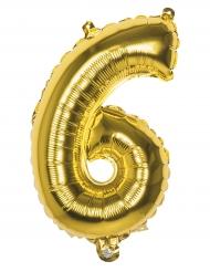 Siffran 6 - Gyllene aluminiumballong 36 cm