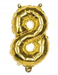 Förgylld aluminium ballong siffran 8 - Julpynt