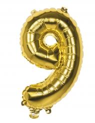 Aluminiumguldfärgad ballong 36cm siffran 9 - Julpynt