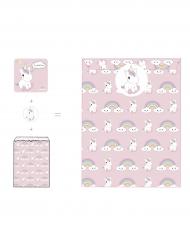 Baby enhörning - 8 inbjudningskort med stickers 12 x 12 cm