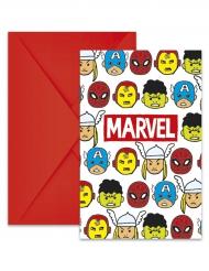 6 inbjudningskort från Avengers™ - Kalasprylar
