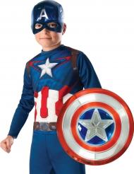 Captain America ™ metallisk plastsköld 30 cm och mask barn