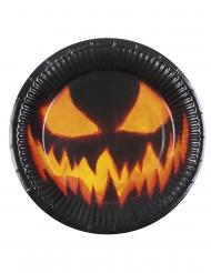 6 läskiga pumpatallrikar - Halloweendukning