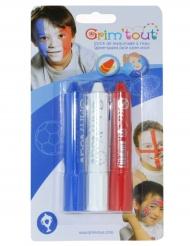 3 sminkkritor i blått vitt och rött från Grim