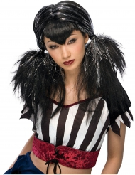 Silvrig och svart peruk till Halloweenfesten för vuxna