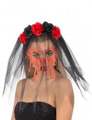 Änkans glittriga tårar - Diadem med slöja till Halloween