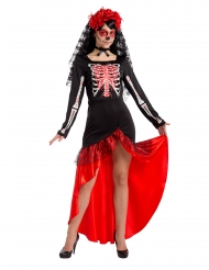 Flamencoklänning med skelett dam