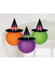 3 papperslanternor i häxhattsform 24 cm - Halloween pynt