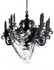 Svart ljuskrona i kartong - Halloweendekoration 41 x 58 cm