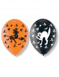 Häxa och katt - 6 ballonger i latex till Halloween