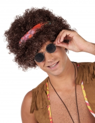 Brun hippie afro peruk