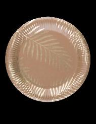 8 papptallrikar med guldigt palmmönster 23 cm